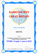 2013 70MHz Trophy Contest Leading Foundation Award